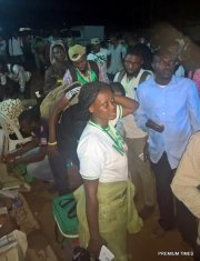 Corp members at the Inec office, Moba LGA, trying get necessary things done before leaving for their various destinations. As at 9:00 pm