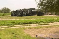 Burnt trucks