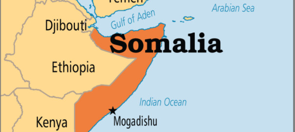 Mogadishu on the map of Somalia