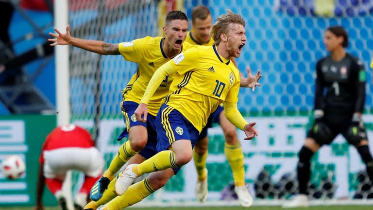 Emil Forsberg celebrates the goal (Photo Credit: Reuters)