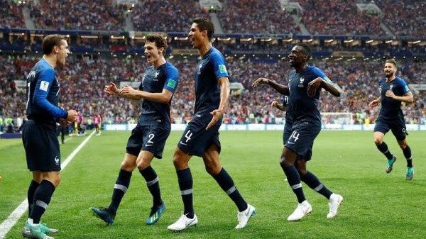 France celebrate their goal