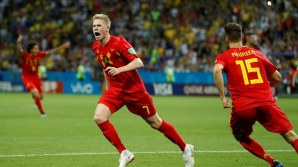 Kevin De Bruyne celebrates goal against Brazil (Photo Credit: Reuters)