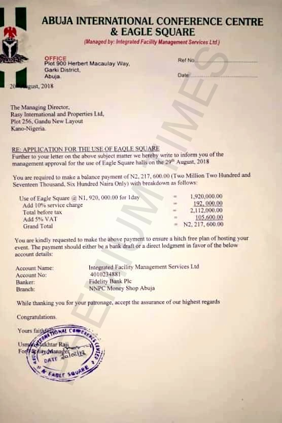 Letter of approval allowing Kwankwaso to use the Eagles Square for his presidential declaration.