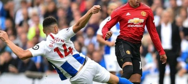 Leon Balogun in action in the match between Brighton and Manchester United
