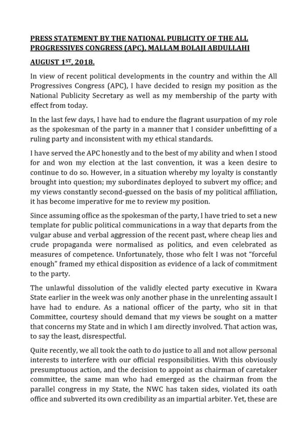 The Press Statement by Bolaji Abdullahi