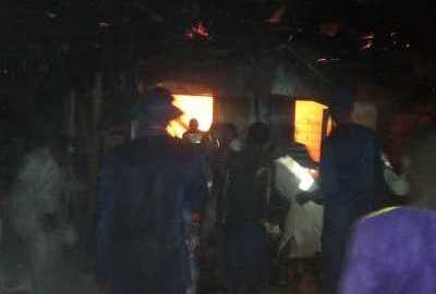Fish Market in Baga, Maiduguir, in fire. [Photo credit: NAN]
