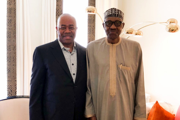 Senator Akpabio with President Buhari in London
