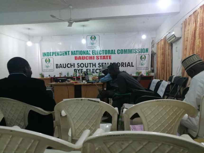 @2:50am. Results from local government collation centres are still being awaited in Bauchi INEC office where the final results are to be announced. [Photo by: Abdulkareem Haruna]