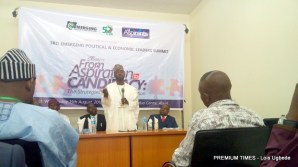 Yusuf Tank one of the aspirants speaking at the summit.