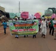 Teachers of LAUTECH protesting