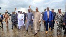 Senate President, Bukola Saraki, on a solidarity visit to Akwa Ibom Governor, Udom Emmanuel