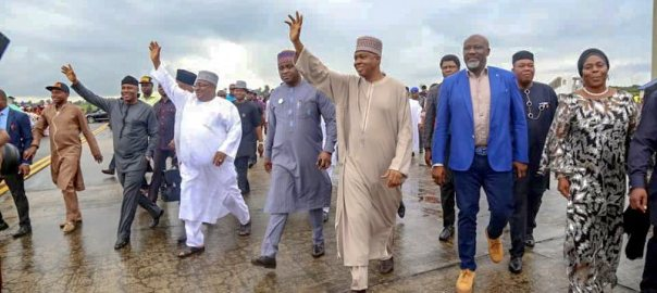 Senate President, Bukola Saraki, on a solidarity visit to Akwa Ibom Governor, Udom Emmanuel