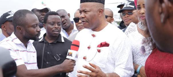 Senator Akpabio addressing reporters at the Akwa Ibom International Airport, Uyo