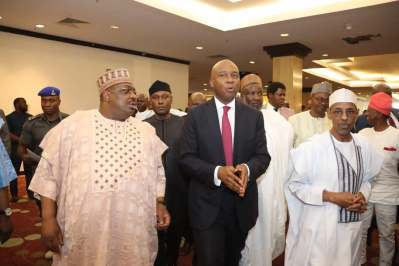 Senate President, Bukola Saraki declaring his intention to run for president of the federal rebublic of Nigeria. [PHOTO CREDIT: Saraki Media Office]