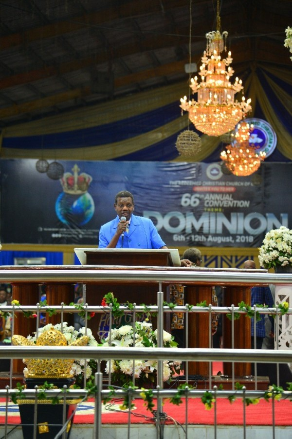Pastor Enoch Adeboye during a sermon at the Redeemed Church annual convention