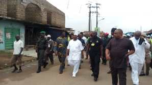 Ademola Adeleke trekking home after voting
