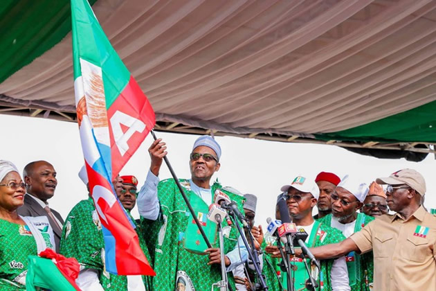 President Buhari, at the APC Mega Rally in Osun [photo: Punch Newspapers]