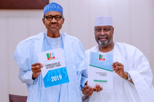President Muhammadu Buhari receives Expression of Interest and Nomination Forms from a socio-political group, the Nigerian Consolidation Ambassadors Network (NCAN) today at the Presidential Villa, Abuja