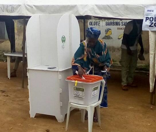 Voting commence in Oshogbo. Aged people allowed to vote first.