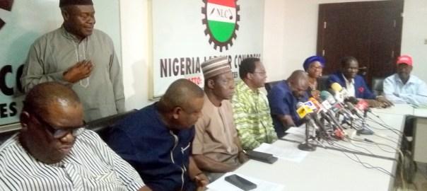 From Left: Sunday Salako, 1st deputy president TUC, Musa Lawal, Secretary General TUC, Ayuba Wabba, NLC