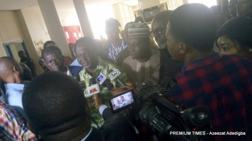 NLC president addressing journalist after the meeting.