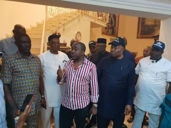 Mr Inibehe Okorie (on shirt) addressing APC leaders in his county home after he reportedly accpeted to step down for Senator Akpabio in the race for the Senate