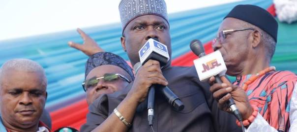 Mr Nsima Ekere, the Managing Director, NDDC, at the Eket rally on Tuesday