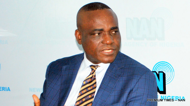 Senior Special Adviser to the President on National Assembly Matters, Sen. Ita Enang speaking during his appearance on the News Agency of Nigeria (NAN) Forum in Abuja on Tuesday (11/9/18). 04918/11/9/2018/Jimah Suleman/BJO/NAN