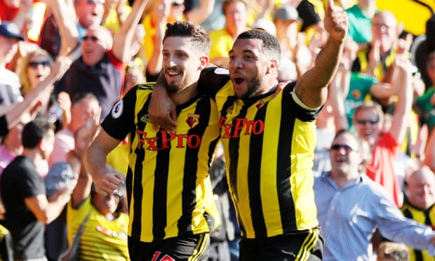 Watford's Craig Cathcart celebrates scoring their second goal with Troy Deeney. Photograph: David Klein/Reuters