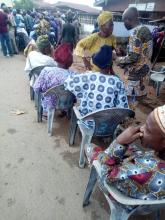 At 8:07am Election is about to start in Ward 002, PU 003 of Ayedaade LGA. Elderly perons are seen on a separate queue with their seats. According to the APO II, election would start in no time.
