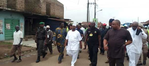 Ademola Adeleke trekking home after voting