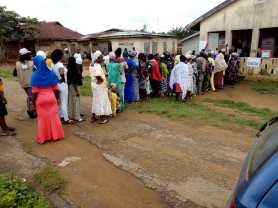 10:14am, PU 013, Ward 04, Ilase/Idominasi, Obokun LG, voting process on going smoothly.