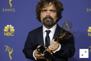 "Peter Dinklage poses backstage with his Outstanding Supporting Actor in a Drama Series award for ""Game of Thrones."" REUTERS/Mike Blake"