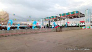 Eagle square is set for the convention with security officials on groundEagle square is set for the convention with security officials on ground