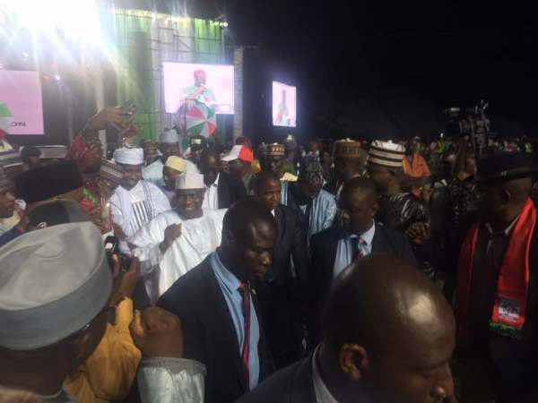 Aminu Tambuwal as he leaves the podium after addressing the convention