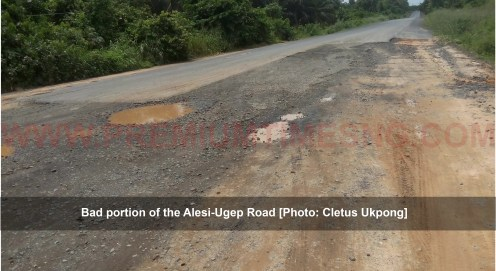 Bad portion of the Alesi-Ugep Road [Photo: Cletus Ukpong]