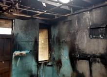 A segment of the burnt dormitory
