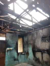 A segment of the burnt dormitory
