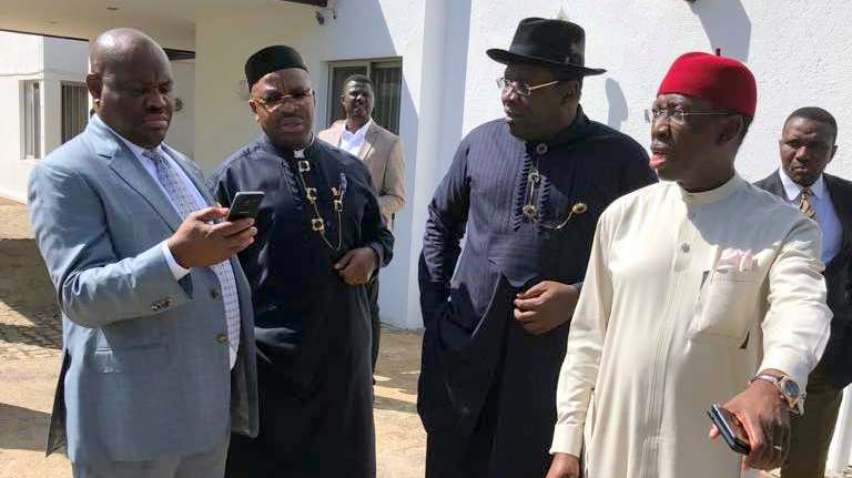 Governors, Ifeanyi Okowa [Delta] Seriake Dickson, [Bayelsa] Emmanuel Ayade [Cross River] and Nyesom Wike [Rivers] today [30-10-18] After The South South Governors' Meeting On Issues Of Common Interest At Abuja