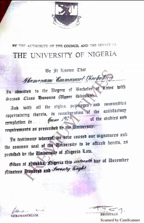 A copy of Kachikwu's UNN certificate.