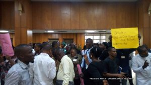 Some legislative aides protesting
