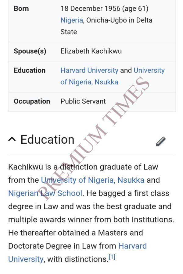 Screen shot of Kachikwu's academic performance according to Wikipedia.