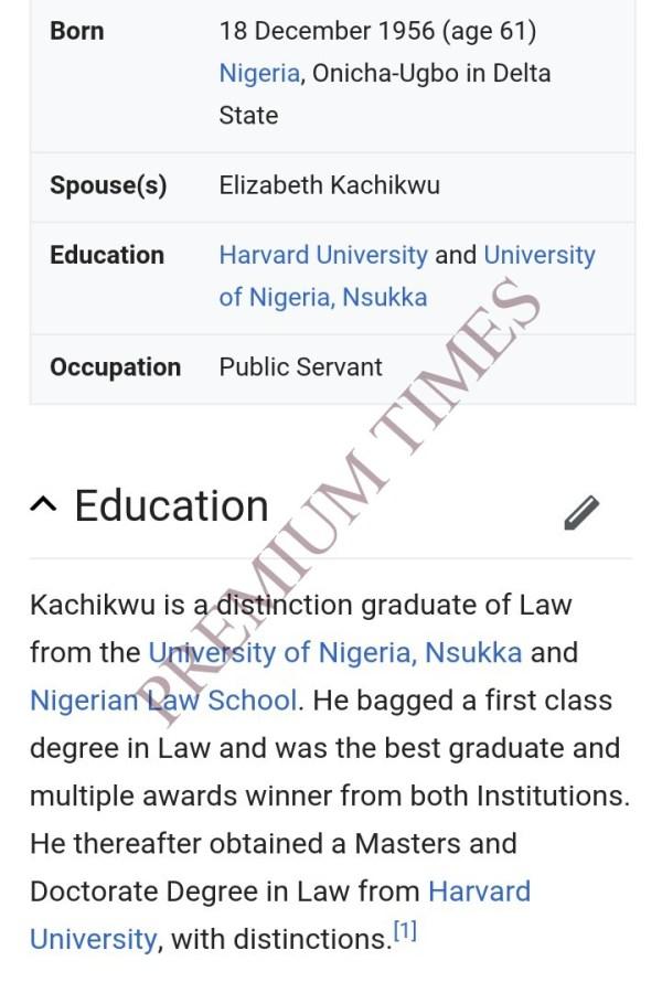 Screen shot of Kachikwu's academic performance according to Wikipedia.