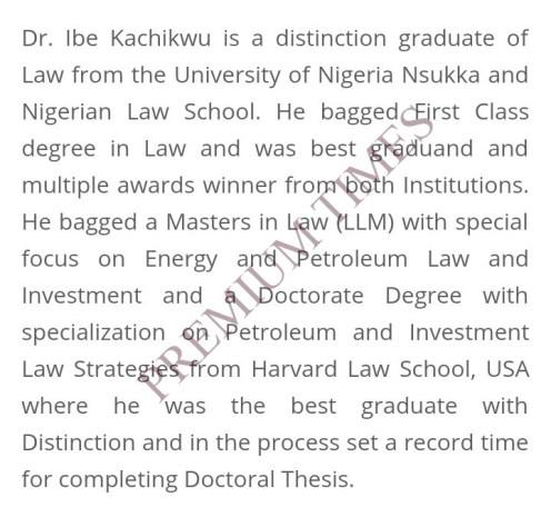Screen shot of Kachikwu's academic performance on fed Min Of petroleum ministry website.