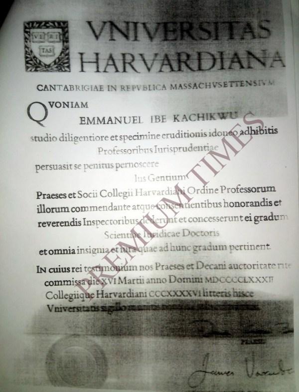 Kachikwu's Harvard certificate.