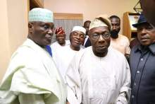 Atiku Abubakar and his entourage at Obasanjo's abode in Otta