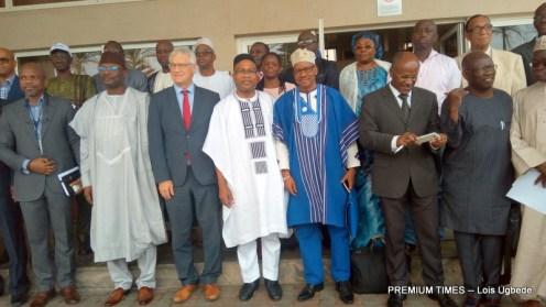 INEC chairman Mahmood Yakubu and participants at the workshop.
