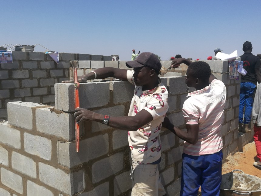 Bricklayers working on the project In Borno State