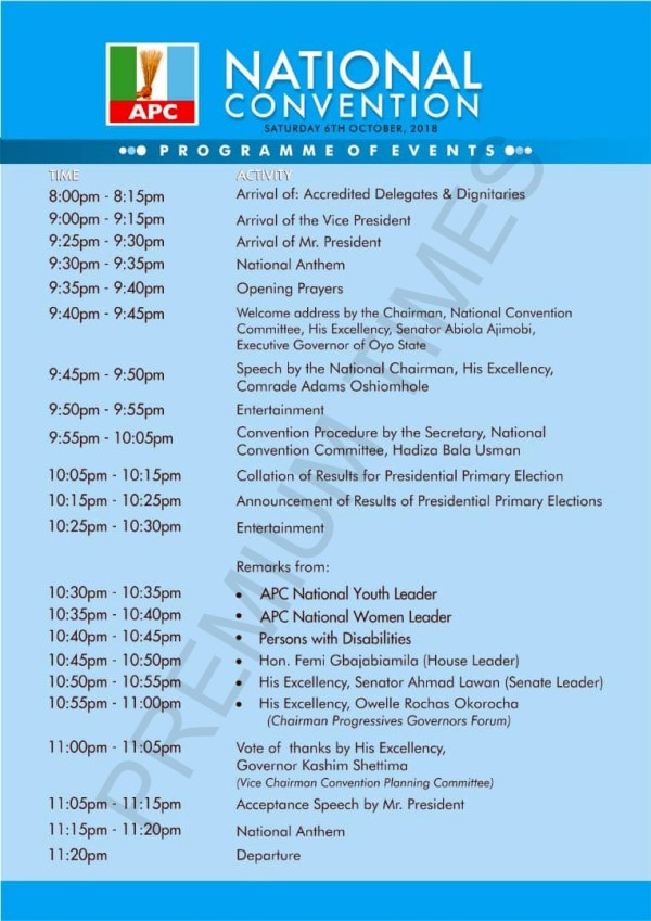 Programme of APC convention
