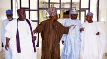 From left: Govs. Rotimi Akeredolu of Ondo State; Rochas Okorocha of Imo; Ibikunle Amosun of Ogun; Abubakar Sani-Bello of Niger; and Abubakar Bagudu of Kebbi, arriving for a meeting with President Muhammadu Buhari at the State House in Abuja on Thursday (4/10/18). 5369/4/10/2018/Sumaila Ibrahim/BJO/NAN